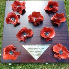 Blood Swept Lands and Seas of Red WW1 remembrance ceramic poppy engraved plaque