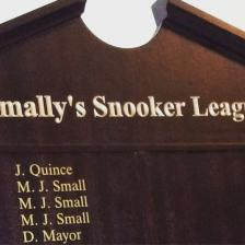 Snooker honours board, with gold vinyl lettering