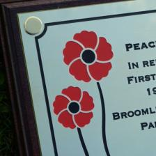 Brass plaque in memory for the WW1 remembrance day