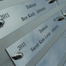 Stainless steel name plate display