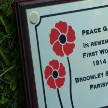 Polished brass plaque with red poppy image mounted on a dark mahogany backing board