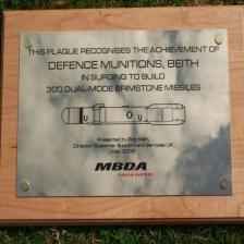 Recognition plaque on oak board