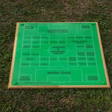 A3 Football Pitch with names of sponsors.  Green laminate and paint filled mounted on an oak backing board