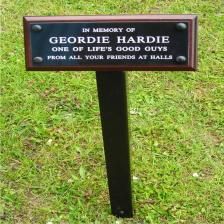 Satin black steel stake with black laminate memorial plaque with white text