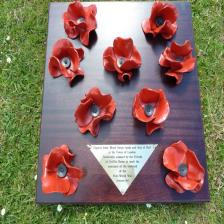 Commemorative presentation poppy board with brass plaque and mahogany board