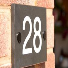 Slate house number with white paint fill